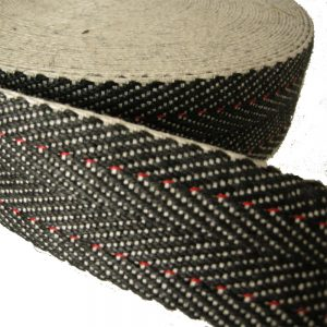 Herringbone black white webbing