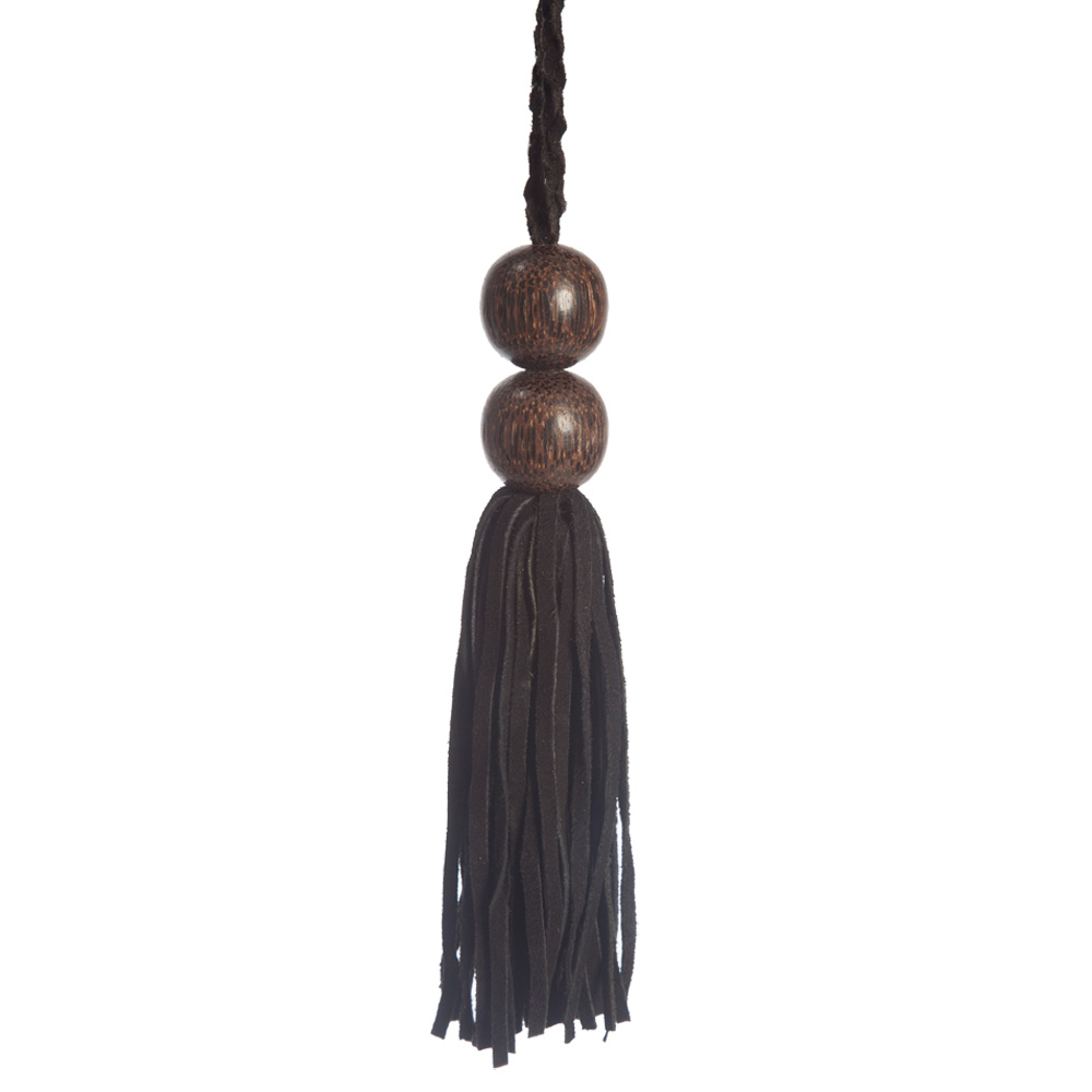 Luxurious Wooden Bead Suede Key Tassel The Unique Seat