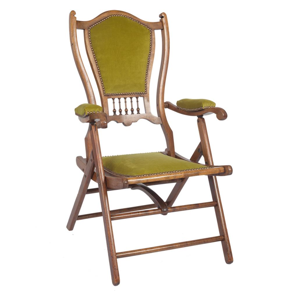 Stunning Edwardian Mahogany Folding Campaign Chair