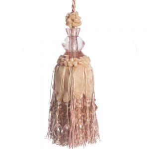 Ribbon & Crystal Key Tassel