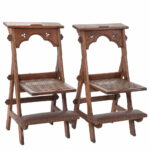 Pair of Victorian Gothic Folding Chairs